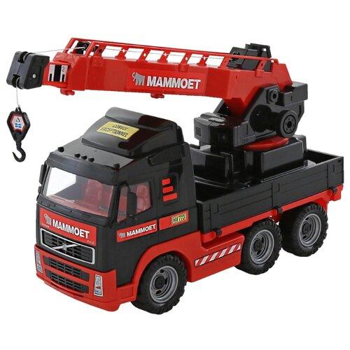Купить Автокран Полесье с поворотной платформой 203-01 Mammoet Volvo (56979) 73 см черный/красный, Машинки и техника