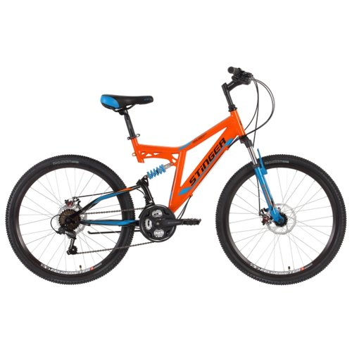 Горный (MTB) велосипед Stinger Highlander D 26 (2018) оранжевый 16 (требует финальной сборки) велосипед stinger cruiser l 26 рама 16 5 синий 1 скорость