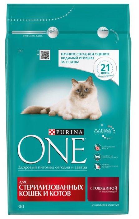 Purina ONE (3 кг) Для стерилизованных кошек и котов с Говядиной и пшеницей