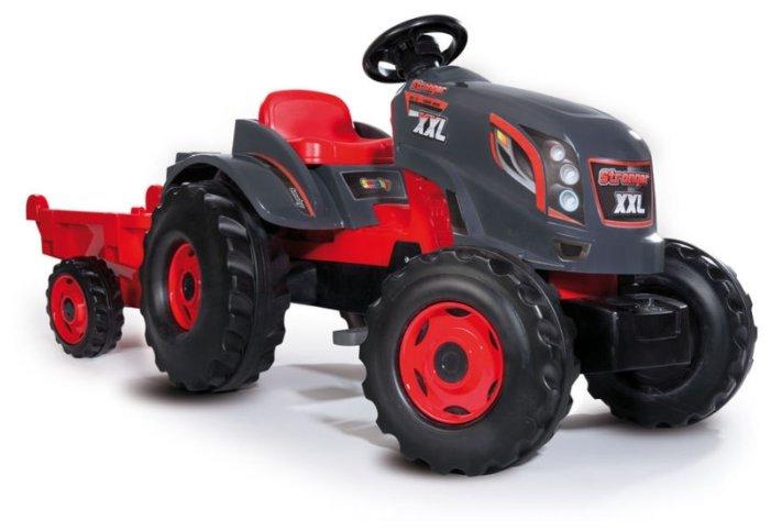 Веломобиль Smoby Трактор педальный XXL с прицепом серый/красный