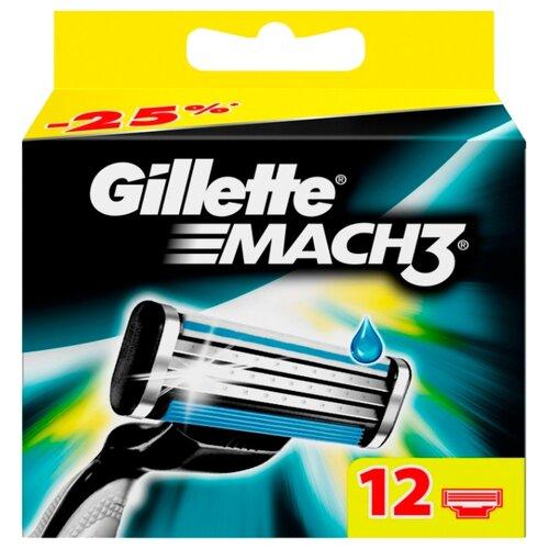 Сменные кассеты Gillette Mach3 , 12 шт.Бритвы и лезвия<br>