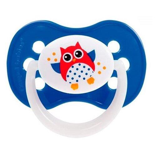 Купить Пустышка силиконовая анатомическая Canpol Babies Owls 0-6 м (1 шт) синий, Пустышки и аксессуары