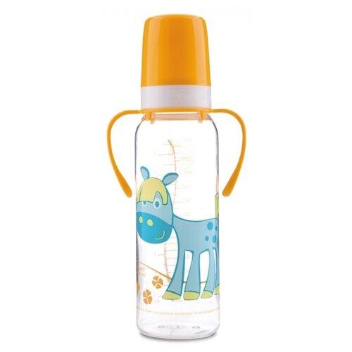 Купить Canpol Babies Бутылочка тритановая с ручками 250 мл Забавные животные с 12 мес., желтый, Бутылочки и ниблеры