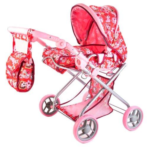Купить Коляска-люлька Карапуз 63HJ-C1 красно-розовый, Коляски для кукол