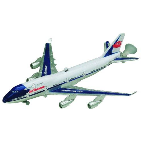 Самолет Dickie Toys реактивный на леске (3343004) 25 см белый/синий dickie toys сигнал регулировщика со светом 25 см dickie toys