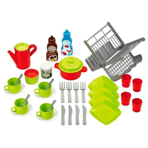 Набор продуктов с посудой Ecoiffier и сушилкой 2619 зеленый/серый/красныйИгрушечная еда и посуда<br>