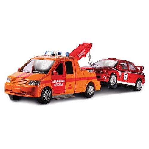 Купить Набор машин ТЕХНОПАРК Эвакуатор Аварийная служба с машинкой (CT1241O) 1:43 оранжевый/красный, Машинки и техника