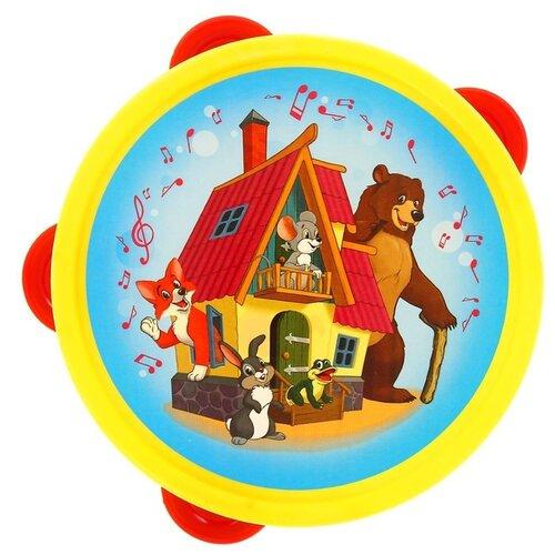 Купить Рыжий кот бубен Теремок И-6817 голубой/желтый, Детские музыкальные инструменты