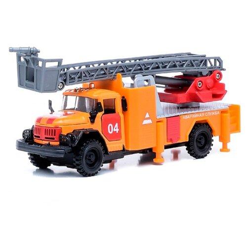 Автокран ТЕХНОПАРК ЗИЛ-131 Аварийная служба (CT10-001-FT1) 1:43 22 см оранжевый грузовик play smart автопарк урал аварийная служба 9464a 25 см оранжевый