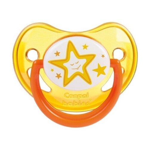 Купить Пустышка силиконовая ортодонтическая Canpol Babies Night Dreams 0-6 м (1 шт.) оранжевый, Пустышки и аксессуары