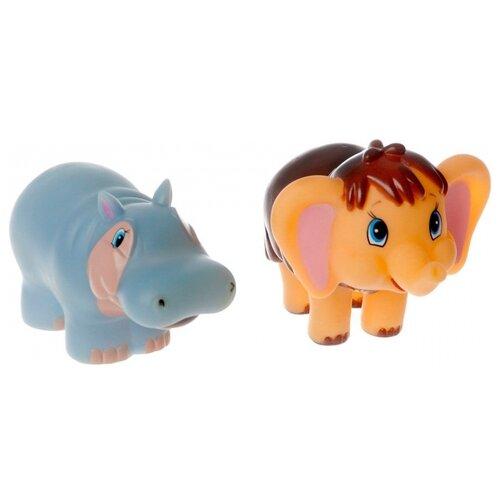 Купить Набор для ванной Играем вместе Мамонтенок и бегемотиха (154R-PVC) голубой/коричневый, Игрушки для ванной