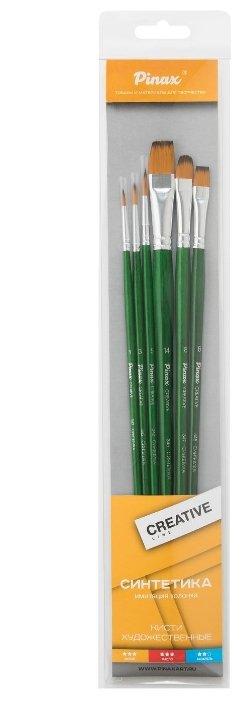 Набор кистей Pinax Creative, синтетика универсальная, с длинной ручкой, 6 шт.
