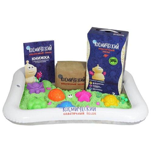 Купить Кинетический песок Космический песок Набор с формочками и надувной песочницей, зеленый, 2 кг, картонная пачка