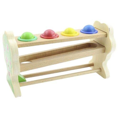 Стучалка Мир деревянных игрушек Горка-шарики бежевый/зеленый деревянные игрушки мир деревянных игрушек мди стучалка шарики