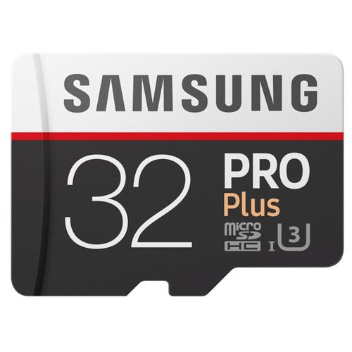 Карта памяти Samsung microSDHC PRO Plus 100MB/s + SD adapter 32 GB, чтение: 100 MB/s, запись: 90 MB/s, адаптер на SD