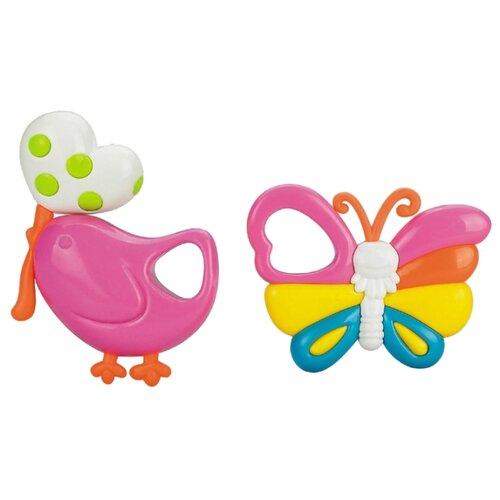 Купить Набор Жирафики Птичка и бабочка розовый/оранжевый, Погремушки и прорезыватели