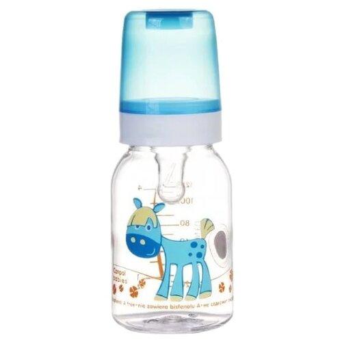 Купить Canpol Babies Бутылочка тритановая 120 мл Забавные животные с 3 мес., голубой/лошадка, Бутылочки и ниблеры