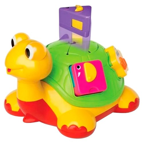 Купить Каталка-игрушка Kiddieland Черепаха-знайка (49742) со звуковыми эффектами желтый, Каталки и качалки