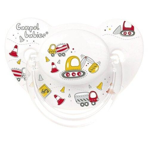 Купить Пустышка силиконовая ортодонтическая Canpol Babies Machines 6-18 м (1 шт.) белый, Пустышки и аксессуары