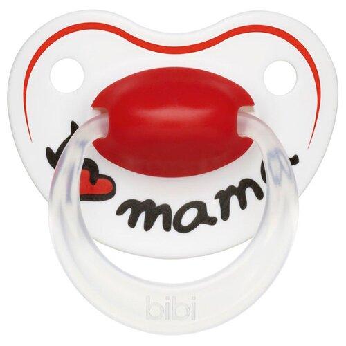 Купить Пустышка силиконовая ортодонтическая Bibi Happiness Mama 0-6 м (1 шт) белый / красный, Пустышки и аксессуары
