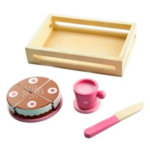 Купить Набор продуктов с посудой Mapacha Тортик 76707 розовый/коричневый, Игрушечная еда и посуда