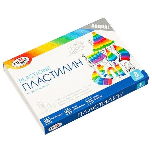 Купить Пластилин ГАММА Классический 8 цветов 160 г со стеком (281031), Пластилин и масса для лепки