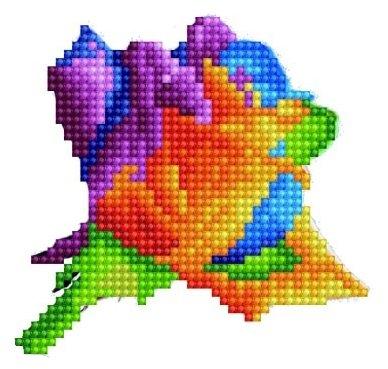 Цветной Набор алмазной вышивки Роза (P24) 22x13 см