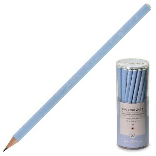 Купить Карандаш чернографитовый нежно-голубой graphix zefir HB, б/ласт, 21-0045/03 4 штуки, Bruno Visconti, Карандаши