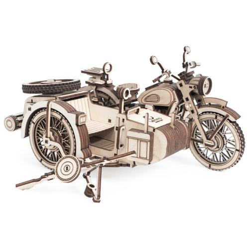 d lex деревянный конструктор мотоцикл с коляской звуковые эффекты Сборная модель Lemmo Мотоцикл с коляской Уран (0159)