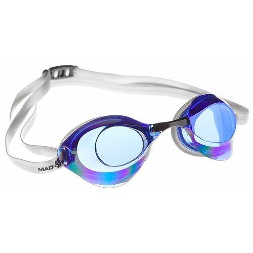 Очки для плавания MAD WAVE Turbo Racer II Rainbow, синий очки для плавания mad wave turbo racer ii black orange