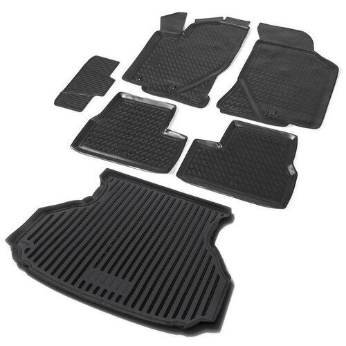 Комплект ковриков салона, багажника RIVAL K16001001-3 для LADA (ВАЗ) Granta 6 шт. чёрный коврик багажника rival 16002004 для lada ваз granta lada ваз kalina черный