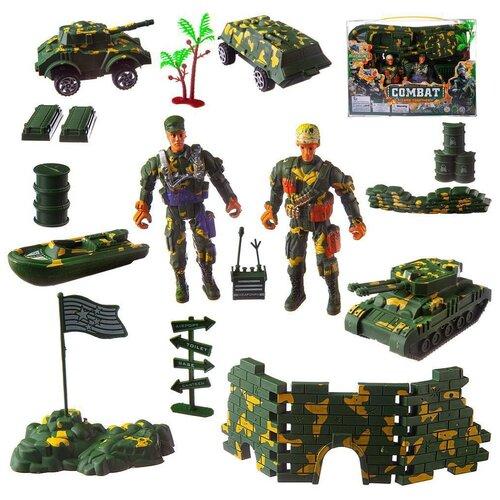 Купить Набор военных машин Junfa с солдатиками и аксессуарами, в прозрачной коробке (PC618-17), Junfa toys, Машинки и техника