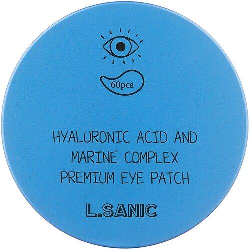 L'Sanic Гидрогелевые патчи Hyaluronic acid and marine complex premium eye patch, 60 шт. aronyx патчи marine aqua energy eye patch гидрогелевые с морскими водорослями 60 шт