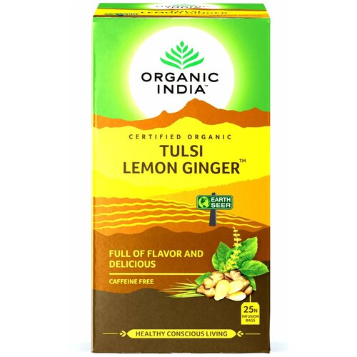 Индийский чайный напиток травяной, т.м. ORGANIC INDIA, Тулси (Базилик) Лимон Имбирь, по 25 пакетиков в пачке чайный напиток травяной живые витамины имбирь лимон в стиках 300 г 10 шт