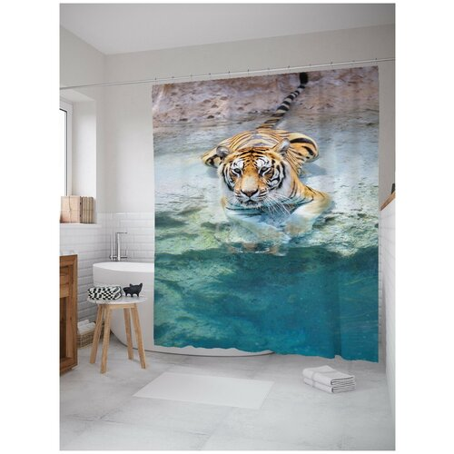 Фото - Штора для ванной JoyArty Прохлада для тигра 180х200 (sc-12726) штора для ванной joyarty подарки для семьи 180х200 sc 78656