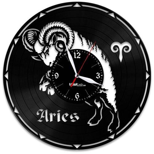 Часы из виниловой пластинки (c) VinylLab Знак зодиака «Овен»