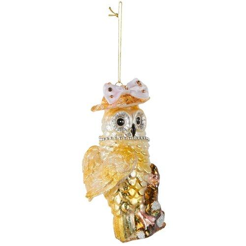 Елочная игрушка House of seasons Сова 83237, золотистый