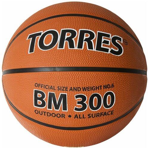 Мяч баскетбольный TORRES BM300 арт.B02016, р.6, резина, нейлон. корд, бут. камера, темнооранж-черн