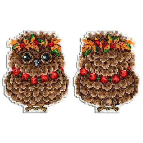 набор для рукоделия совушка цвет белый 12 см Набор для вышивания крестиком Жар-птица Осенняя совушка, 12*9 см