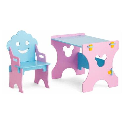 Комплект Столики детям стол + стул Гном 50x45 см розовый/голубой недорого