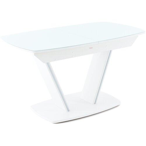 Стол Аврора Дрезден (Ш×Д) 80х130/161,5 см, Белый матовый шагрень / Цвет стекла:Белый