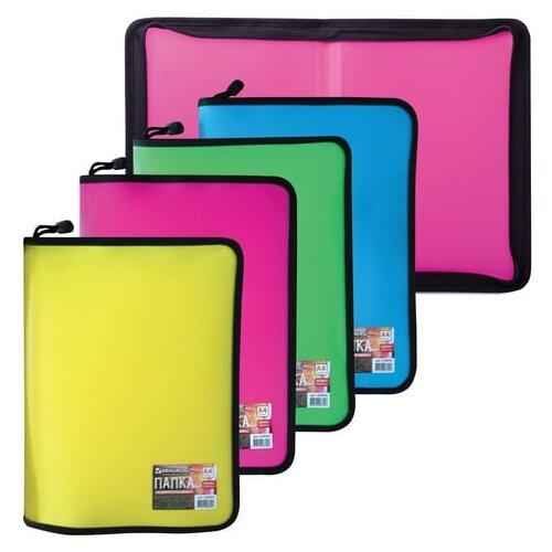 brauberg папка сумка на молнии а5 девочка футбол бабочка ассорти Папка на молнии пластиковая BRAUBERG, А4, 325х230 мм, 4 цвета ассорти, неоновая, 224054
