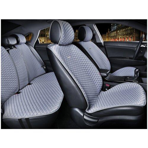 Комплект накидок на автомобильные сиденья CarFashion PALERMO PLUS т.серый/синий