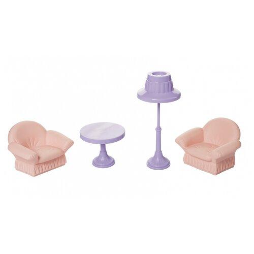 Купить Набор мебели для кукол Огонек Гостиная, Маленькая принцесса , мини, нежно-розовая (С-1560), ОГОНЁК, Мебель для кукол
