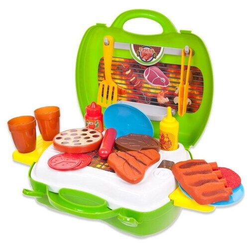 Купить Гриль ABtoys Чудо-чемоданчик PT-00459 зеленый/желтый/голубой/коричневый, Детские кухни и бытовая техника
