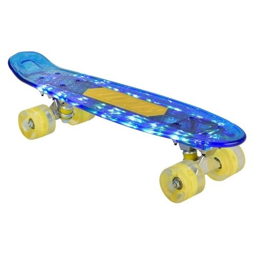 детский лонгборд navigator т17044 26x8 синий Скейт детский Navigator пластик 56х15х11 см со световыми эффектами Т20014-15 Синий Т20013