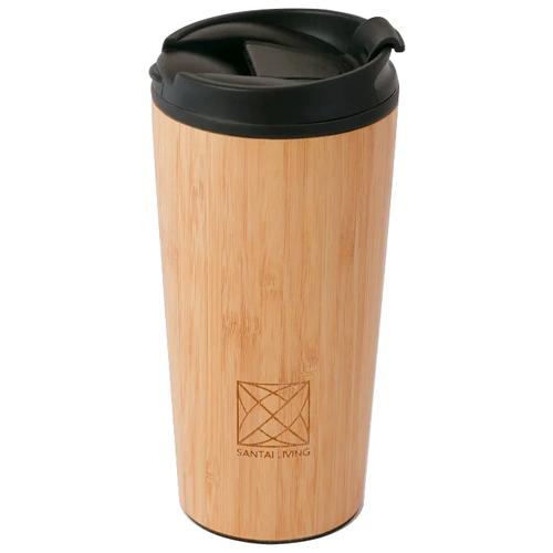 Термокружка SANTAI LIVING 100% Bamboo с крышкой клапаном, 0.45 л бежевый