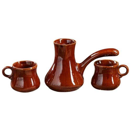 Турка Керамика ручной работы Турка и 2 чашки (700 мл), коричневый