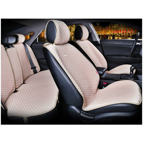 Комплект накидок на автомобильные сиденья CarFashion PALERMO PLUS бежевый/бежевый