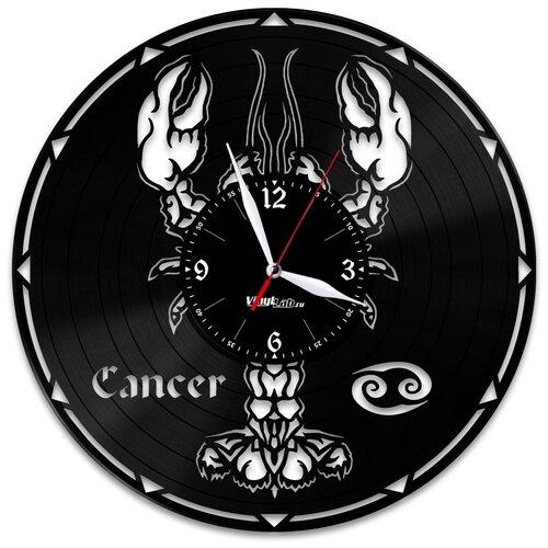 Часы из виниловой пластинки (c) VinylLab Знак зодиака «Рак»